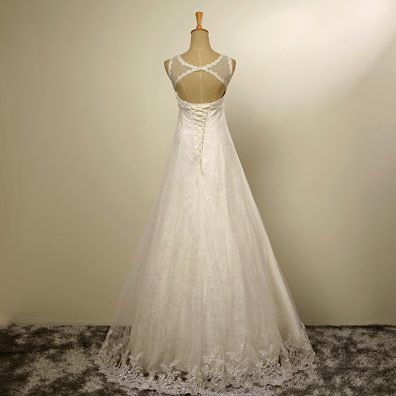 A-line Tulle Lace Pearls Boho Beach Wedding Dress