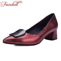 FACNDINLL Genuine Cow Leather Women Pumps Shoes New Fashion Med Heels Pointed Toe Woman Office Ladies