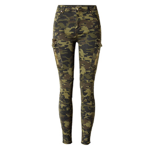 2019 Fashion Army Green Camouflage Jogging Pants Pilot Casual Denim Pants Womens jeans high waist tight Camo jeans femme