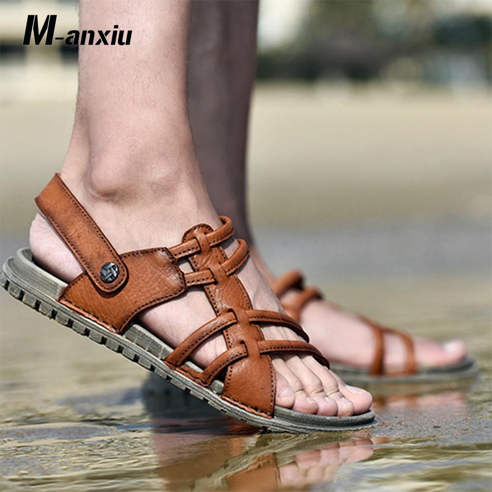 M-anxiu 2018 Summer Beach Outdoor Peep-toe Sandal Men Genuine Leather Soft Rubber Sole Light Slip-on Flat Sandal