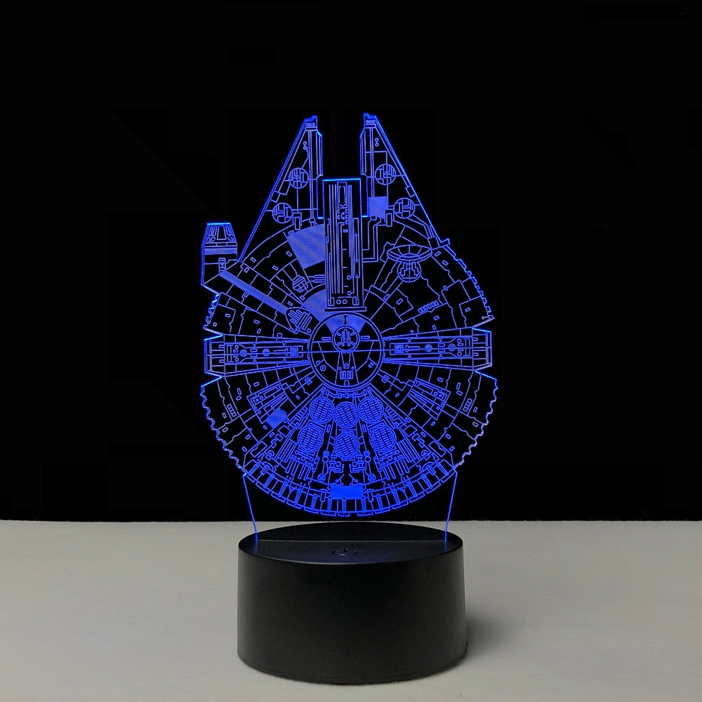 Cartoon Millennium Falcon Star Spaceship 3D Lamp LED USB Night Light Touch RGB Flashlight Table Bedside Mood Gadget Kid Toy