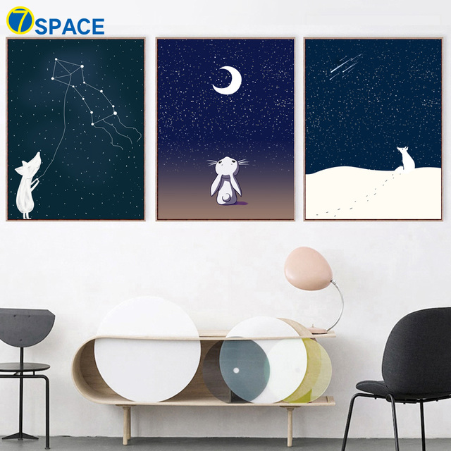 Pig Fox Bunny Constellation Moon Nordic Posters And Prints Wall Art ...