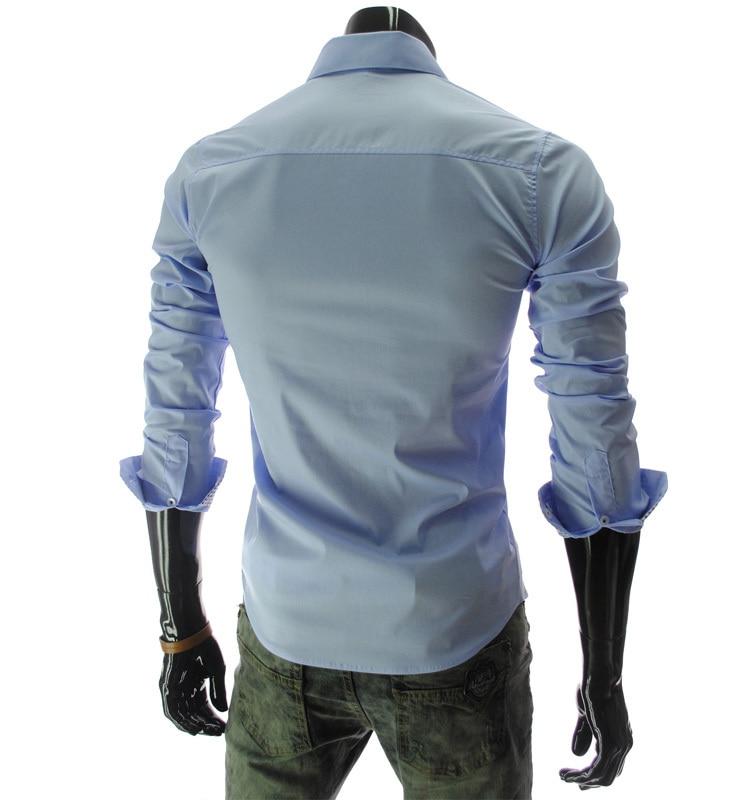 30b10a36a55 New Style Cool Men s Shirts Classic Male Slim Fashion Long sleeve Shirt  Oblique Pocket Men s Clothing Navy