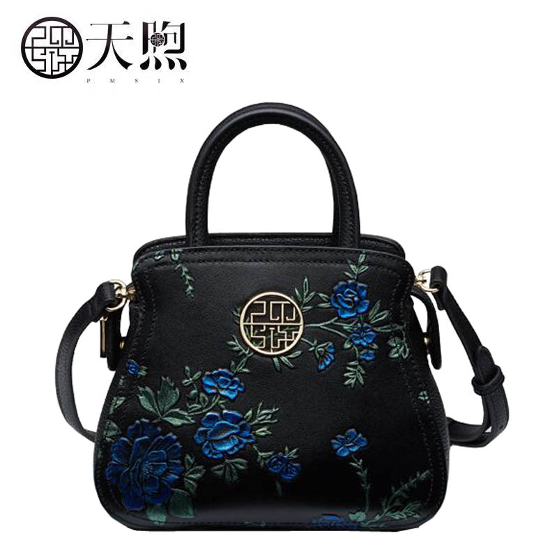 Pmsix2018 high-quality luxury fashion new retro original leather handbag simple shoulder diagonal hand bag temperament lady bag