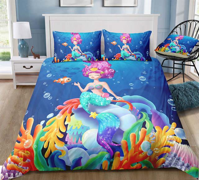YI CHU XIN Little Mermaid Bedding Sets Girl\'s Children\'s Bedroom t Duvet  Cover Set 2/3pcs comforter full size bed set