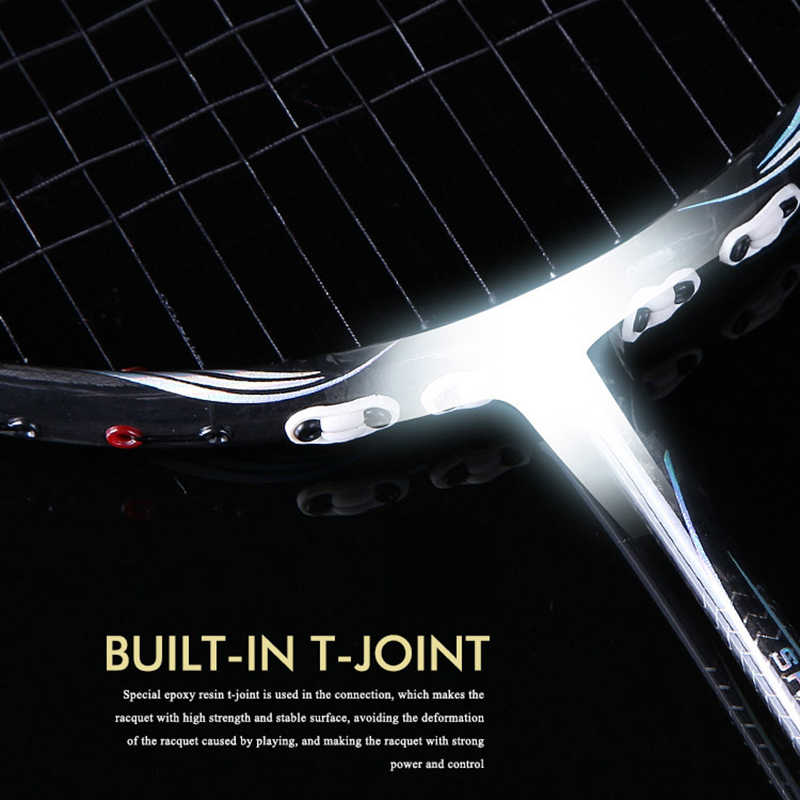 New Fiber full carbon Frame Badminton Rackets Full Carbon Fiber 4U Shock Absorption Ball control Single Racquets Luxury suit