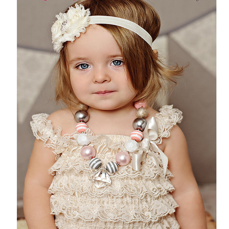 Baby Lace Rompers Infant Lace Romper med stropper Ribbon Bow Kids Jumpsuit Baby Girls Lace Ruffled Petti Romper