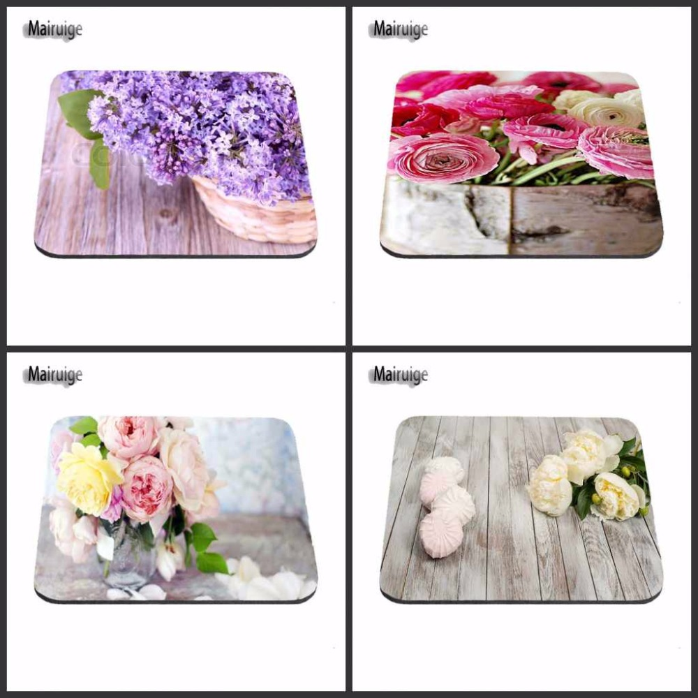 Mairuige Purple pink White Flower Wood Pattern Lovely Simple Comfort Mouse Mat Soft Mousepad For Optal Mouse Hot Sale