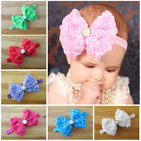 Whloesale Luxurious 4.7'' Big  Chiffon Rose Bows With pearl On Thin Elastic Headbands children hair accessory 10PS Free Shipping