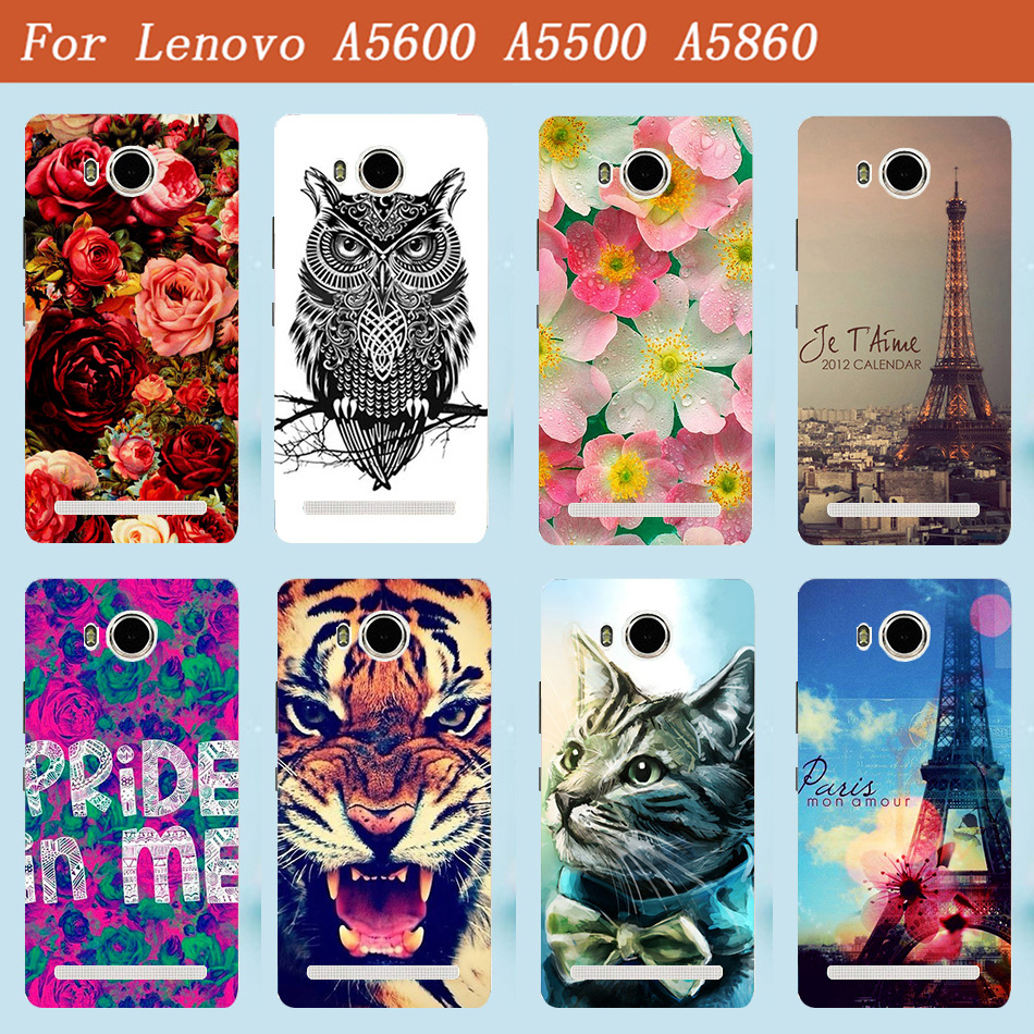 on sale 0428c 6389a For Lenovo A5600 A5500 Case Cover Luxury Diy UV Painting Colored Case For  Lenovo Golden Warrior S8 Play A 5600 A 5860 Phone Bags