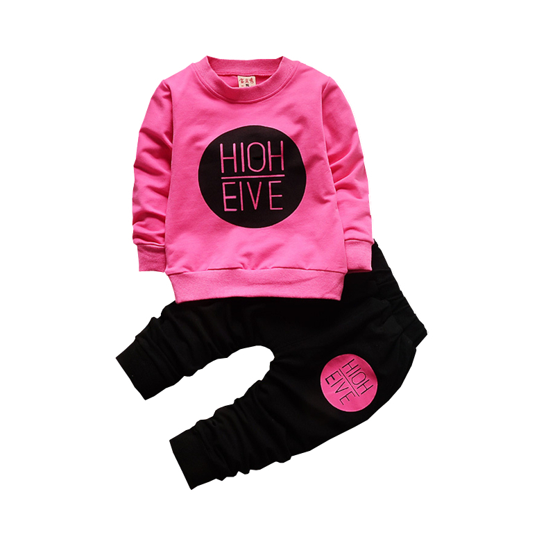 Spring Autumn Children Clothes Sets Baby Girls Boys Letter  Printing T Shirt Pants 2pcs Fashion Sports Cotton Infant Kids Suits