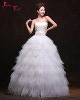 Jark Tozr Robe De Mariage Crystal Beading Feathers Bodice White Organza Princess Ball Gown Wedding Bridal