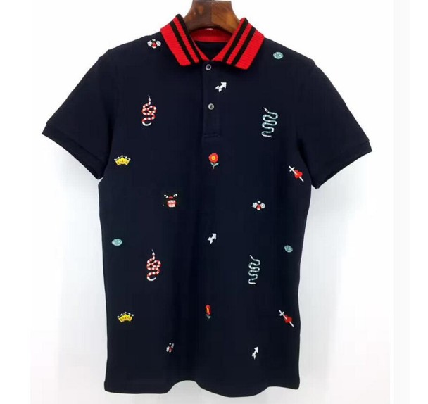 High New 2019 Men High Embroidered snake leopard bee flowers   Polo   Shirts Shirt Hip Hop Skateboard Cotton   Polo   Top S-2XL #C17