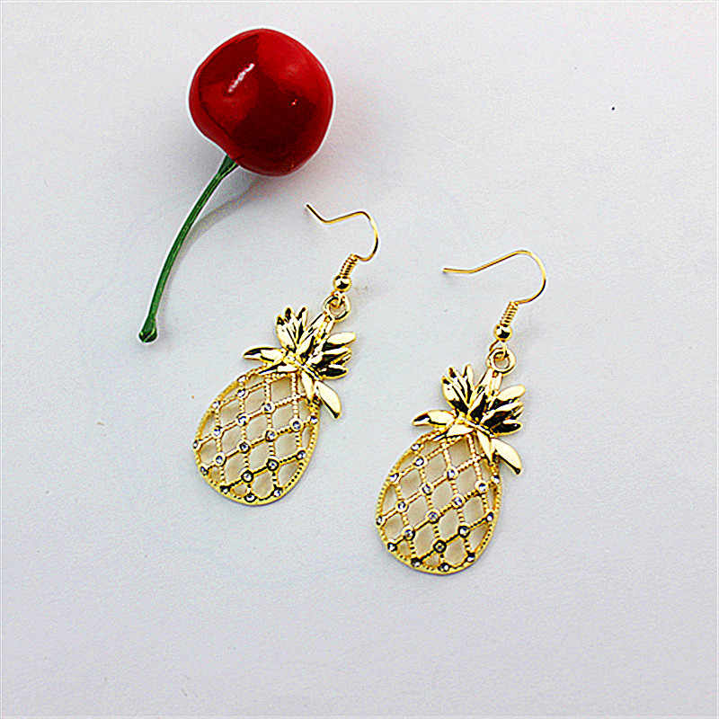 New white glass jewelry fashion accessories wholesale girls birthday party lifelike golden pineapple pendant earrings free shipp