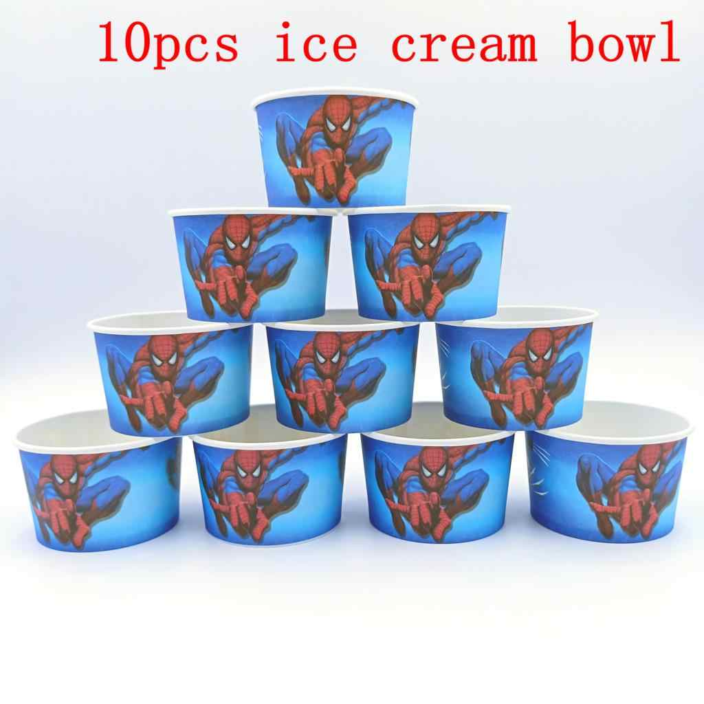 10PCS/lot SPIDER ICE CREAM CUPS KIDS BIRTHDAY PARTY SUPPLIES SPIDERMAN HAPPY BIRTHDAY PARTY ICE CREAM BOWLS WHOLESALE ICE CUPS