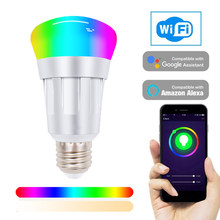 Multicolor Light Bulb Smart WIFI LED Bulb RGB Dimmable Light Phone Remote Control Compatible with Alexa Google Home Tmall Genie(China)