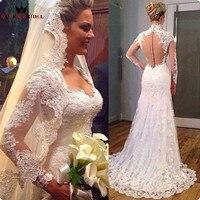 Custom Made Mermaid Long Sleeve Lace Beading Wedding Dresses Sexy Bride Wedding Gown 2018 New Design Vestidos De Novia WS59