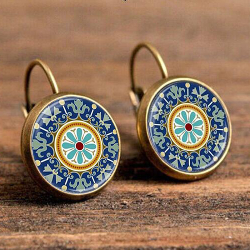 Bohemian Indian Mandragora Flower Pattern Jewelry Blue & Red Antique Gold Color  Drop Earrings