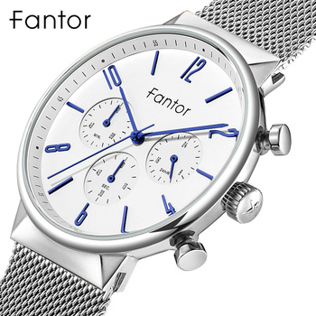 Fantor Top Men Original Brand Classic Chronograph Watch Luxury Mesh Steel Quartz Watch Business Waterproof Man Wrist Watches