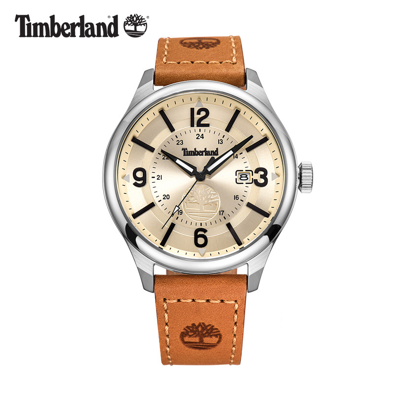 Timberland Mens Watches Quartz Leather Large Dial Simple Casual Water Resistant Luxuty Brand Male Watches T14645