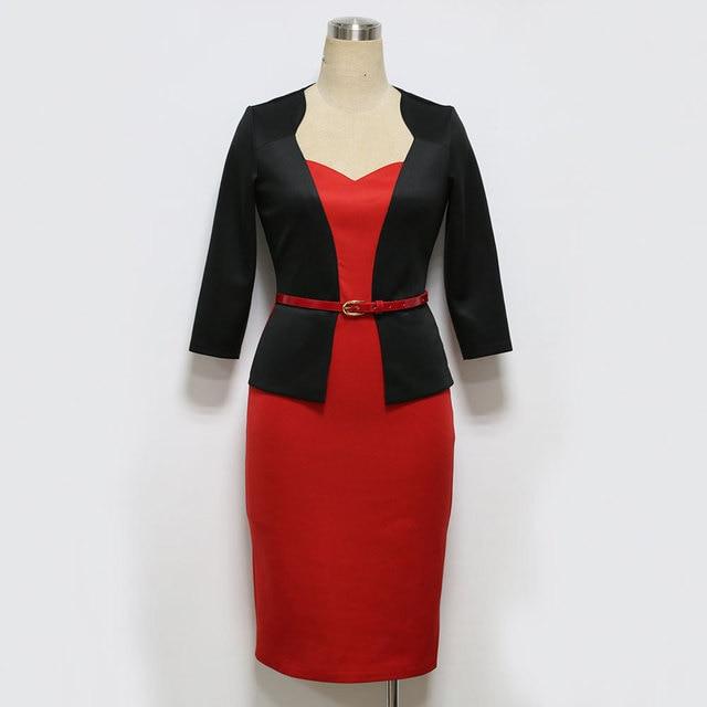 Womens Office Dress New Work Dresses 2018 Women Fashion Elegant Patchwork Business Bodycon Sashes Dress 1