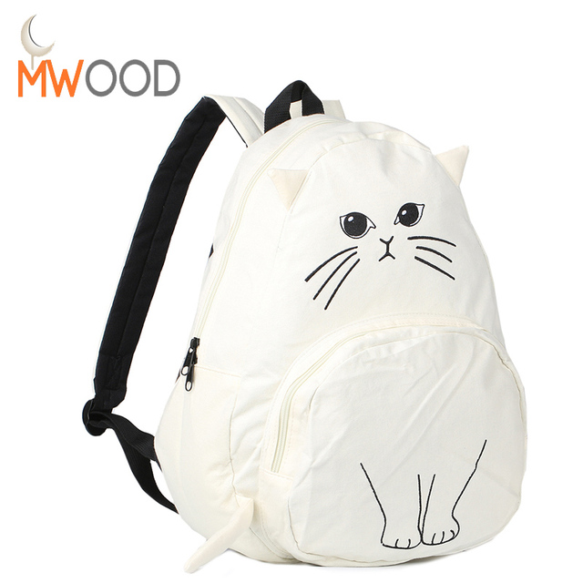 Moon Wood Lovely Cat Canvas Backpacks Japanese Fashion Large Leisure Travel  School Shoulder Bags Girls Cute Animal Printing Pack 1b462271c3c06