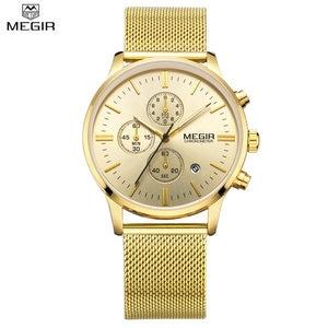 Image 4 - MEGIR chronograph mens quartz watch slim mesh steel band men watches gold casual business brand male clock wristwatches MG2011