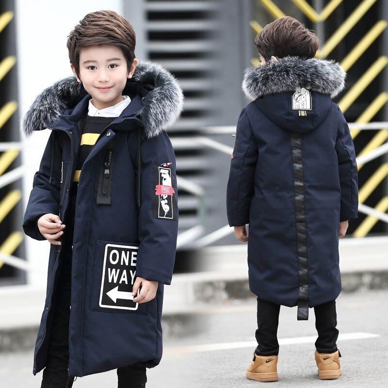 Зимнее пальто для мальчиков-30 лет, пуховики для больших мальчиков, Длинные парки для мальчиков-подростков с капюшоном из натурального меха ...