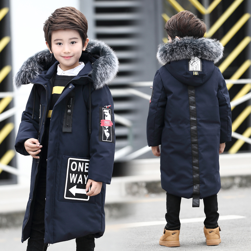 -30 зимнее пальто для мальчиков большой Весенний пиджак для мальчиков длинные парки для мальчика-подростка с настоящим мехом возраст От 8 до ...