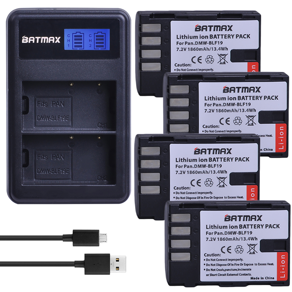 4PCS 1860mAh DMW-BLF19 DMW BLF19 BLF19 Li-ion Battery + LCD USB Charger for Panasonic Lumix DMC-GH3 DMC GH3 GH4 DMC-GH4 Camera изолента зубр мастер 1234 z01