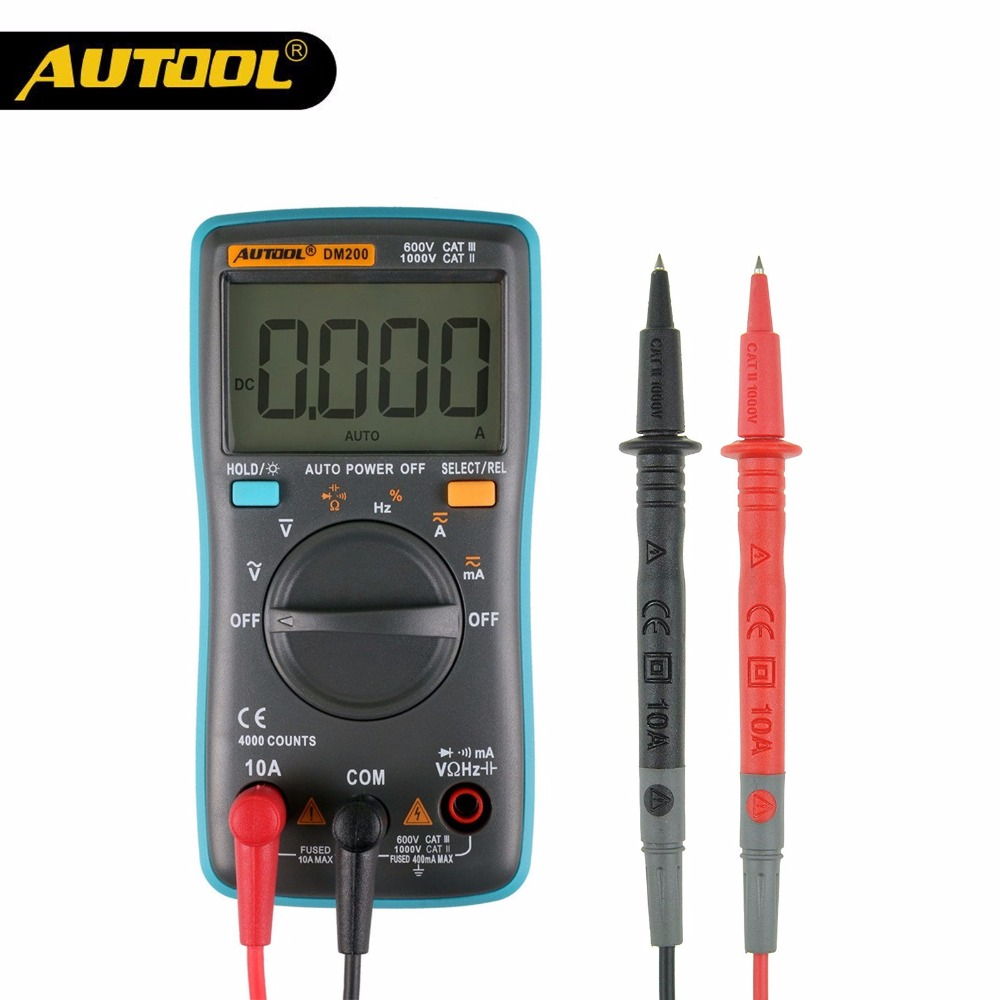 AUTOOL DM200 LCD Multimeter Digital AC DC Autoranging Voltage Electronic Circuit Diagnostic Tool Repair Multi-Meter PK ZT100
