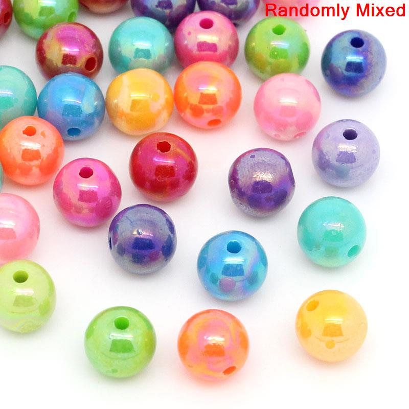 Doreen Box hot-  Acrylic Spacer Beads Round Mixed AB Color 8mm Dia,300PCs(B22091)