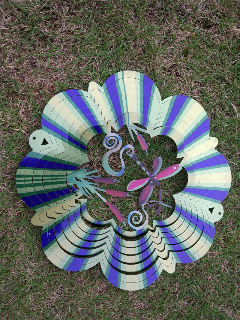 12 inches 3d wind spinner dragonfly made from stainless