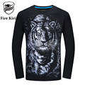 Fire Kirin Mens T Shirts Fashion 2017 5XL 6XL Hip Hop T-shirt Tee 3D T Shirt Men Tiger Monkey Wolf Horse Tshirt Long Sleeve T423
