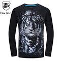 Kirin fogo Mens T Shirts Moda 2017 5XL 6XL T-shirt de Hip Hop Tee T Shirt Dos Homens 3D Tigre Macaco Lobo Cavalo Tshirt Longo Da Luva T423