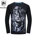 Kirin fuego Mens T Shirts Moda 2017 5XL 6XL Hip Hop Camiseta Tee T Shirt 3D Hombres Mono Tigre Lobo Caballo Camiseta de Manga Larga T423