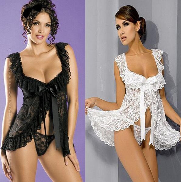 Sexy lingerie vrouwen rose kant zwart wit vest perspectief ondergoed - Nieuwe items