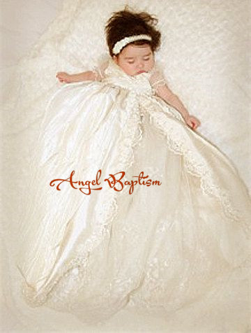 Vintage Short Sleeves Lace Silk Toddlers Christening Gown Baptism Dress For Infant Girls Boys