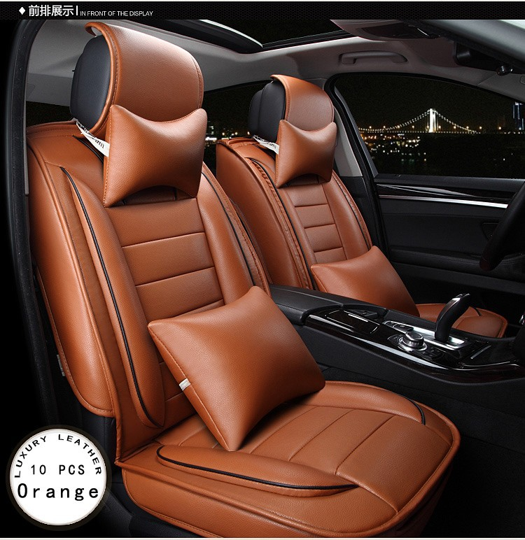opel Zafira Meriva Ampera Astra Agila Corsa new luxury PU leather car seat cover front&rear 5 seat Brown/Beige/Red for opel astra zafira meriva ampera agila corsa new brand luxury soft pu leather car seat cover front