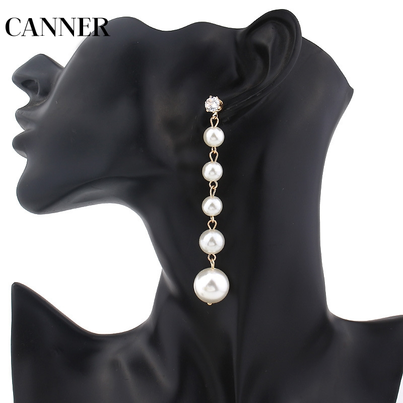 Canner Big Pearl Earrings Elegant Long Chain Pearls Chain Tassel Stud Earrings For Women Statement Luxury Earring Gift R4 Exquisite Traditional Embroidery Art