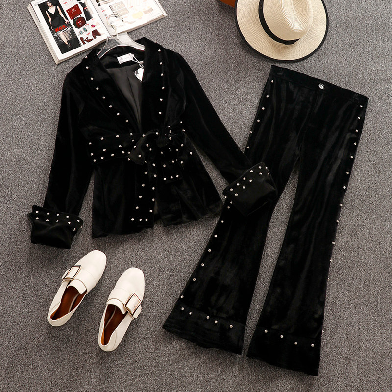 2019 Spring and Autumn Women's Long Sleeve Diamond Black Velvet Suit Blazer + Bead Flare Pants Two Piece Ladies Trousers Set
