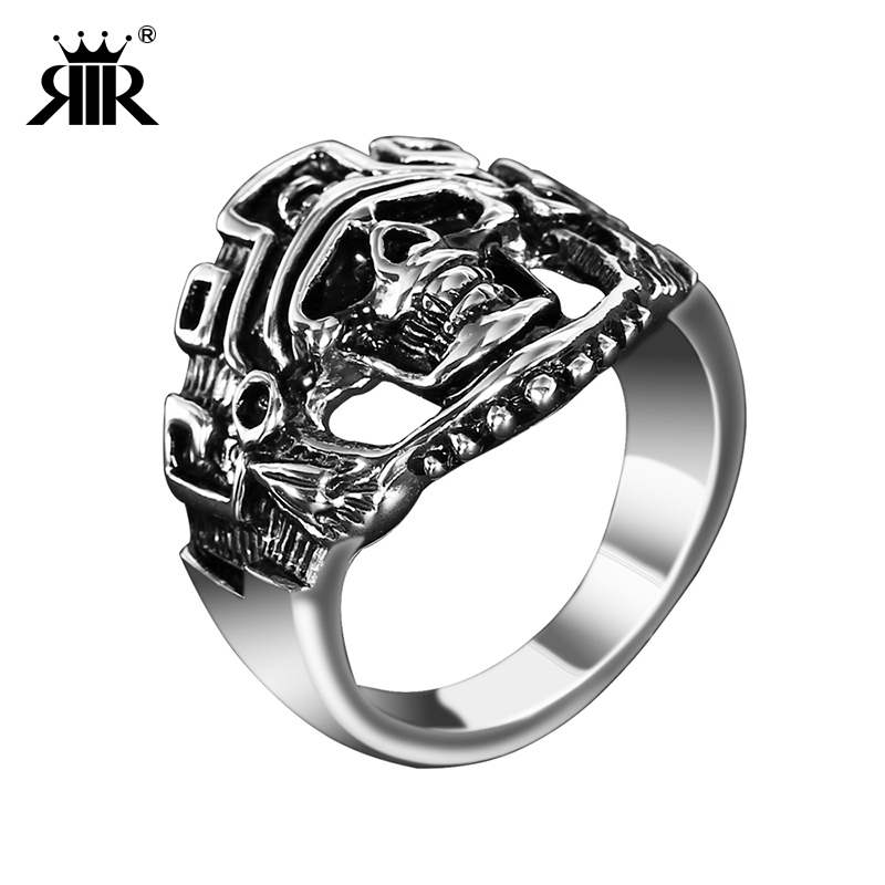RIR Stainless Steel Silver black Skull Fashion jewelry ring For Motorcycle Cool Men Jewelry Gothic rings