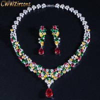CWWZircons HIgh Quality Water Drop Cubic Zirconia Wedding Bridal Necklace Jewelry Sets Luxury Brides Jewellery Accessories T310