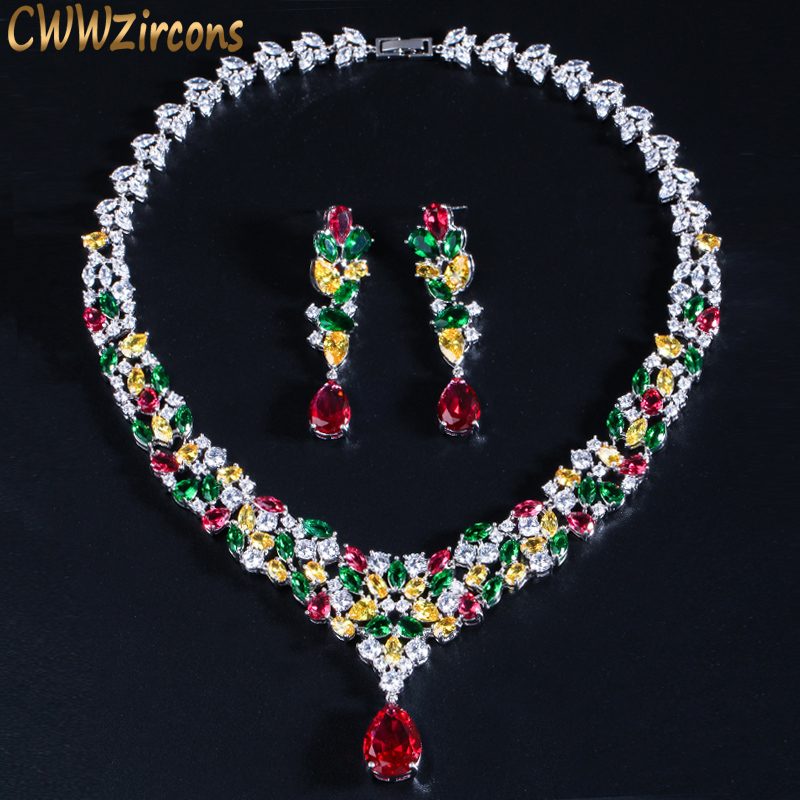 CWWZircons Haute Qualité Goutte D'eau Cubique Zircon De Mariage Collier De Mariée Bijoux Ensembles De Luxe Brides Bijoux Accessoires T310