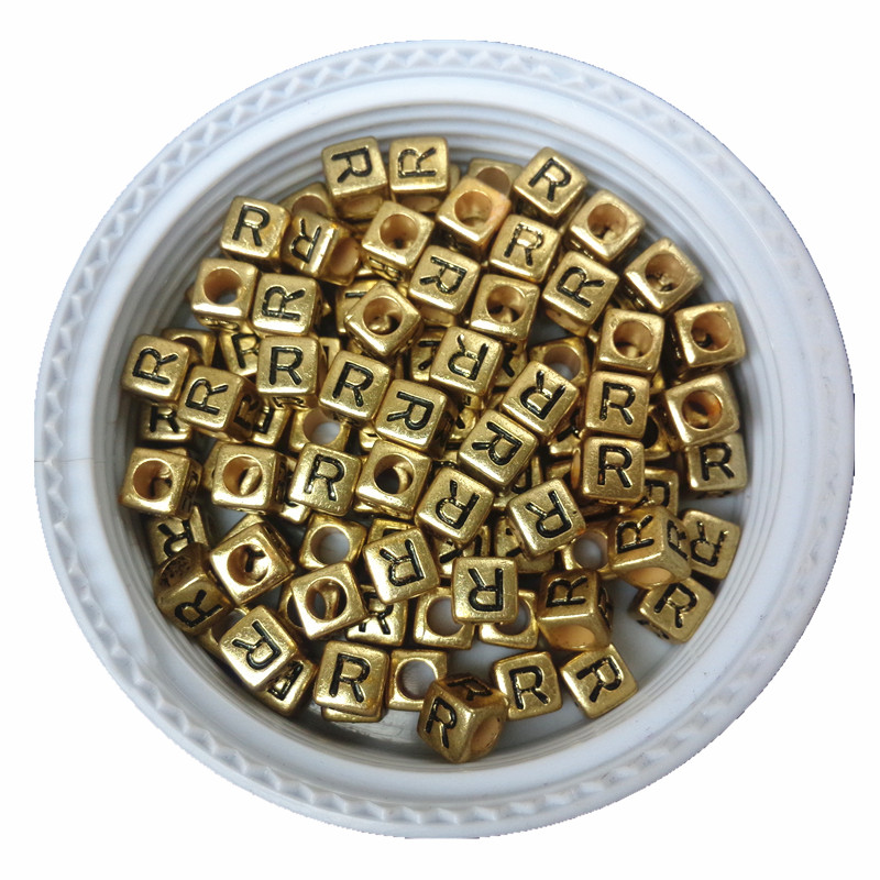 Free Shipping Cube Single R Printing Gold Acrylic Letter Beads 500pcs 2600pcs 6*6mm Square Plastic Alphabet Jewelry Spacer Beads For Fast Shipping Jewelry & Accessories Beads