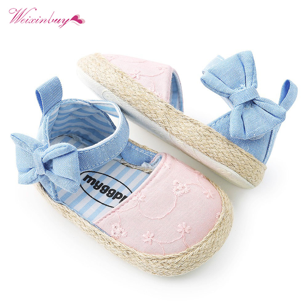 Baby Girls Shoes Princess First Walkers Cowboy Cute Bow Ballet Dress Crib Shoes Soft Soled Baby Shoes