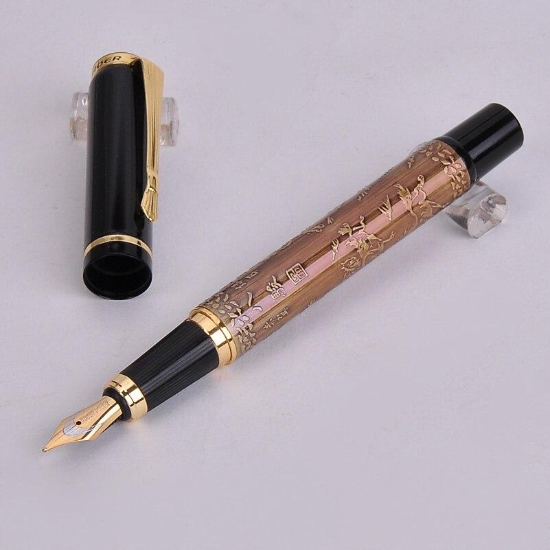 New Baoer 507 Brown/Pink/Grey Color 1pc/lot Xubeihong the Eight Horses Medium Nib Ink/luxury/gift Fountain Pen