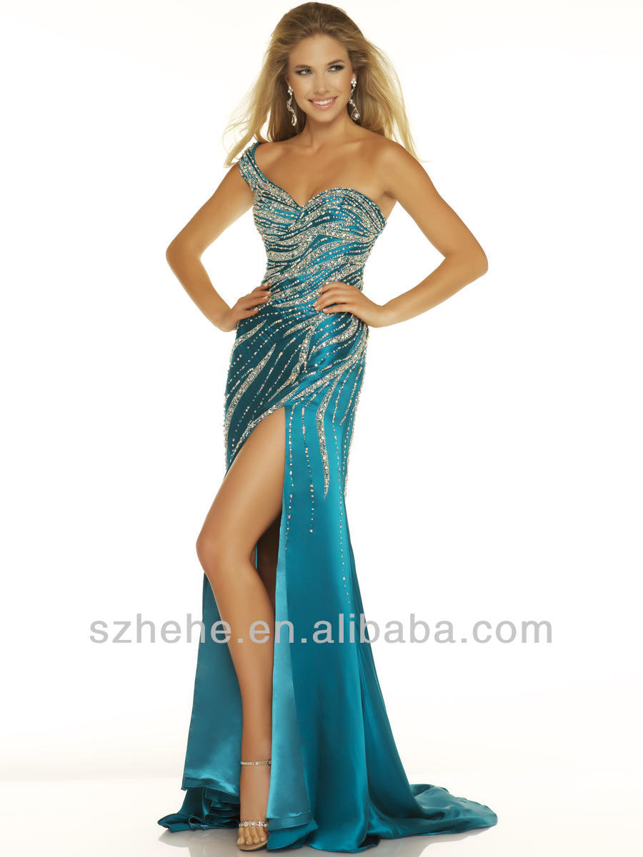 CY608 Vogue teal one shoulder beaded sequins mermaid long side ...