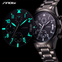 SINOBI 2017 Mens Watches Top Brand Luxury Business Stainless Steel Quartz Watch Male Sport Chronograph Clock