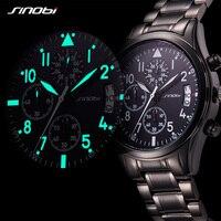 SINOBI 2017 Mens Watches Top Brand Luxury Business Stainless Steel Quartz Watch Male Sport Chronograph Clock